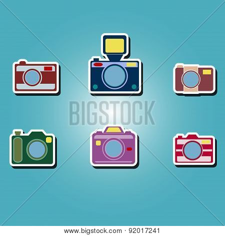set of color icons with photo camera symbols