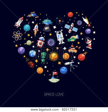 Heart flat design composition of space icons and infographics elements