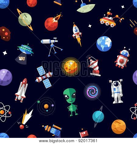 Pattern of space icons and infographics elements
