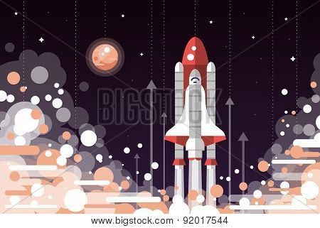 Modern flat design illustration of space shuttle launch
