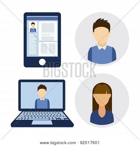 Social network design over white background vector illustration