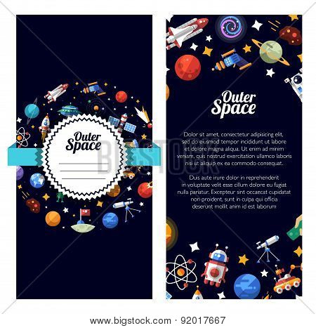 Flat design illustration of space icons and infographics elements