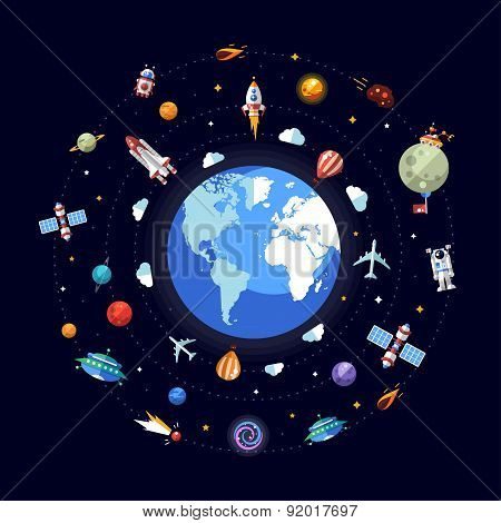 Flat design illustration of Earth with space icons and infograph