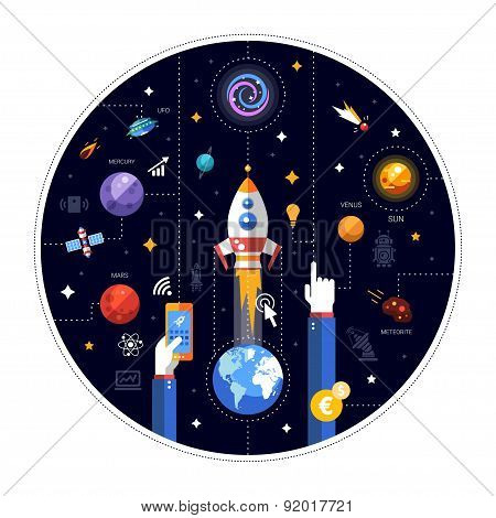 Flat design illustration of rocket launch with Earth,space icons