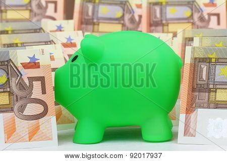 Piggy bank and Euro banknotes