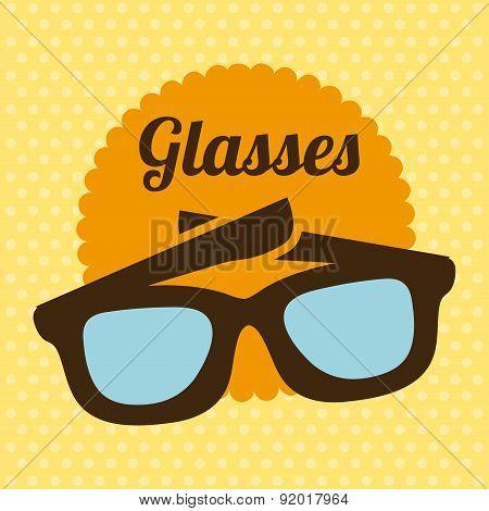 Glasses design over yellow background vector illustration