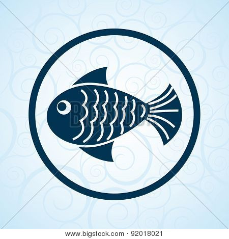 fresh fish seal over blue background vector illustration