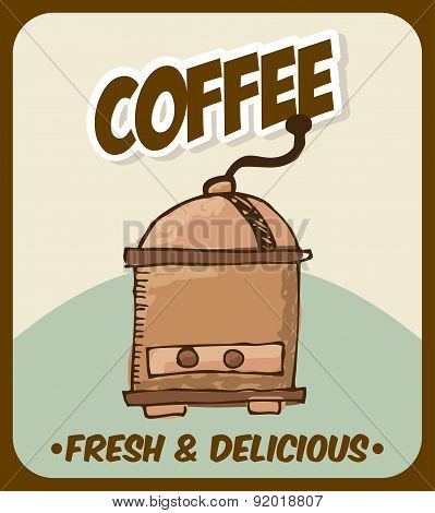 Coffee design over beige background vector illustration