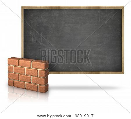 Black blank blackboard with 3D brick wall