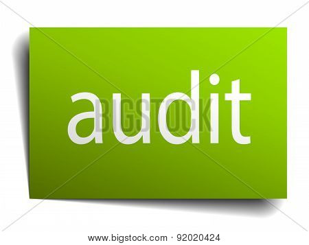 Audit Green Paper Sign On White Background