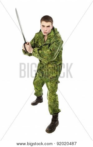 Military Man With Blade