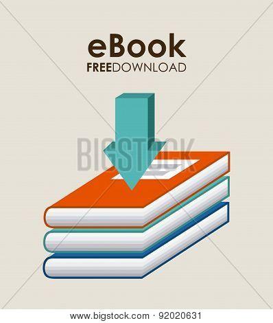 eBook design over beige background vector illustration