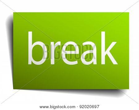 Break Green Paper Sign On White Background