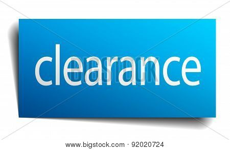 Clearance Blue Square Isolated Paper Sign On White