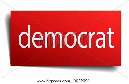 Democrat Red Square Isolated Paper Sign On White