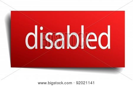 Disabled Red Square Isolated Paper Sign On White