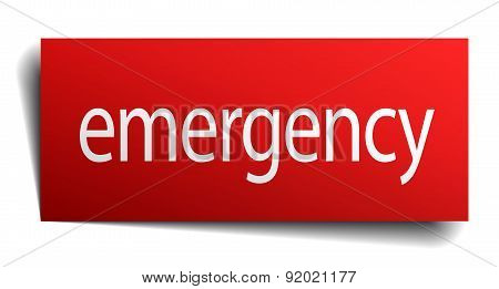 Emergency Red Square Isolated Paper Sign On White