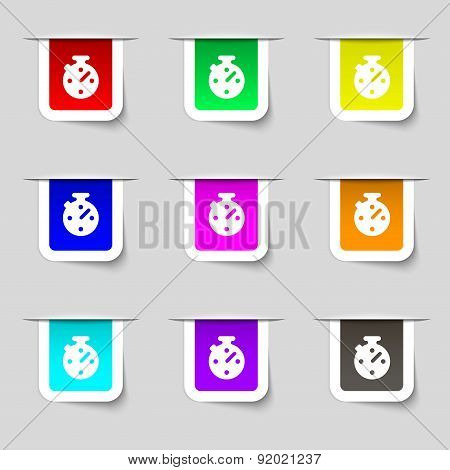 Timer, Stopwatch Icon Sign. Set Of Multicolored Modern Labels For Your Design. Vector