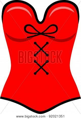Red corset flat style