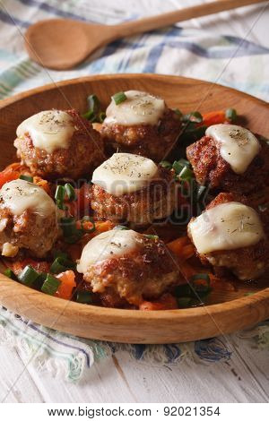 Baked Meat Balls With Mozzarella  In A Wooden Bowl. Vertical