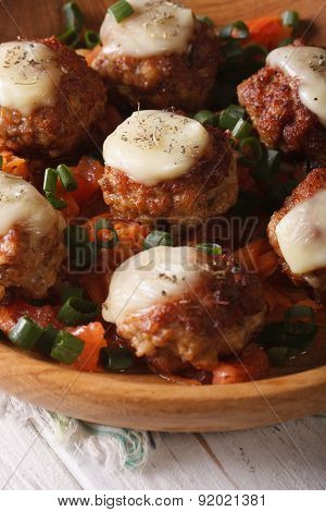 Fried Meat Balls With Mozzarella  In A Wooden Bowl. Vertical
