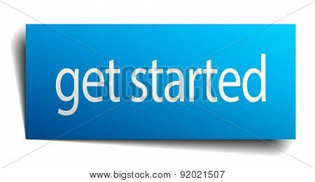Get Started Blue Paper Sign Isolated On White