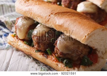 Tasty Sandwich With Meatballs Close-up