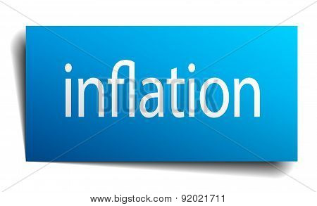 Inflation Blue Paper Sign On White Background
