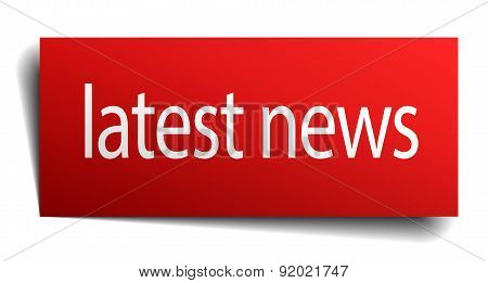 Latest News Red Square Isolated Paper Sign On White