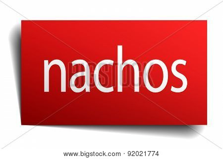 Nachos Red Square Isolated Paper Sign On White