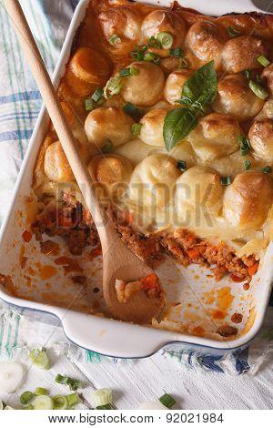 Shepherds Pie In The Baking Dish Closeup. Vertical Top View