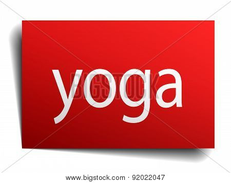 Yoga Red Square Isolated Paper Sign On White