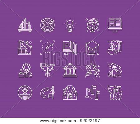 Education Elements Line Icons Set
