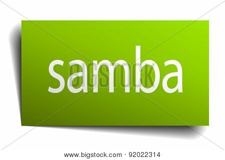 Samba Square Paper Sign Isolated On White