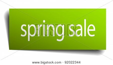 Spring Sale Square Paper Sign Isolated On White