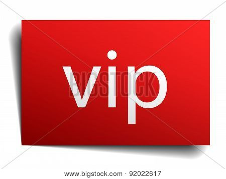 Vip Red Paper Sign On White Background