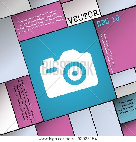 Photo Camera Icon Sign. Modern Flat Style For Your Design. Vector