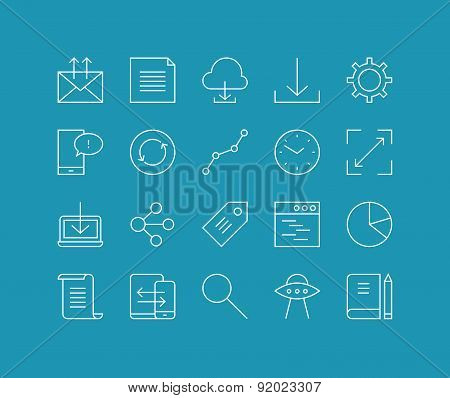 Workflow And Networking Line Icons Set