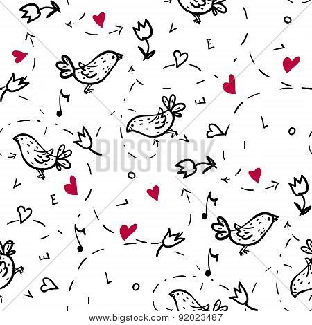 pattern with love, hearts and birds