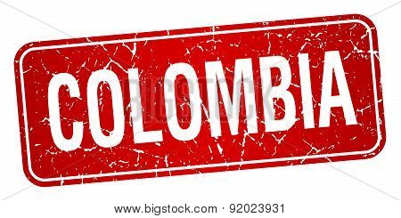 Colombia Red Stamp Isolated On White Background