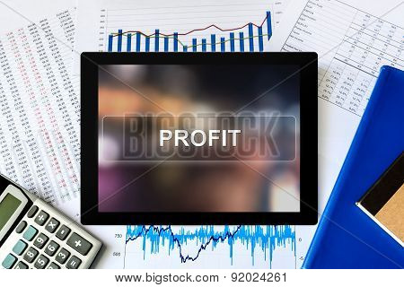 Financial Profit Word On Tablet