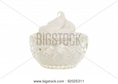 crystal bowl filled with whipped cream