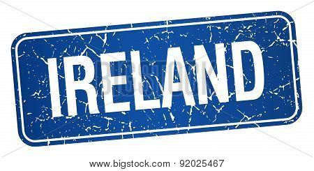 Ireland Blue Stamp Isolated On White Background