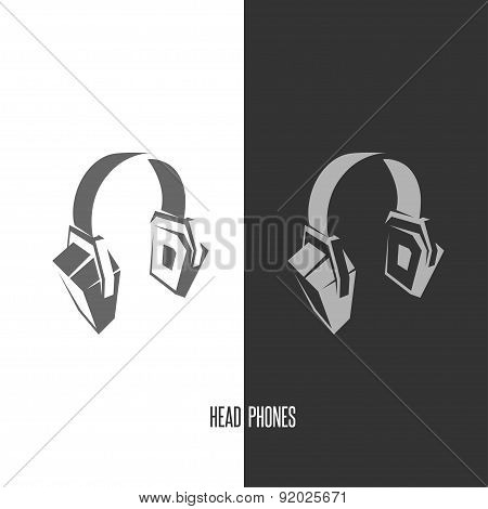 Headhphones abstract graphic sign