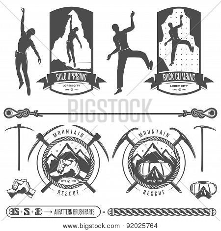 Set of vector mountains and rock climbing emblems.
