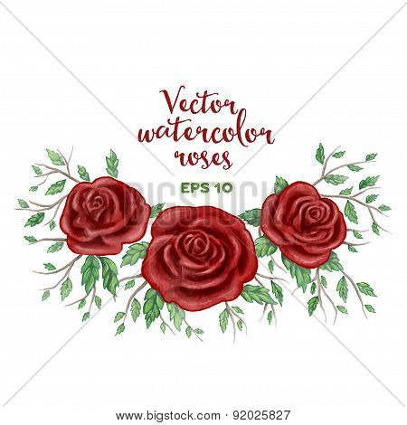Vector watercolor red roses frame.