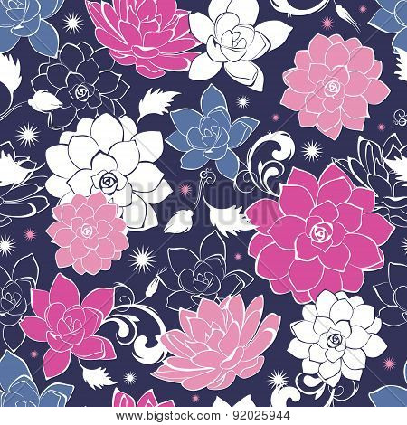 Dark grey pink floaral seamless pattern