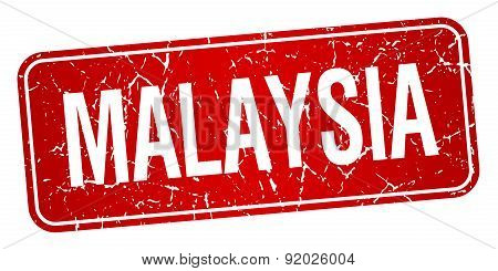 Malaysia Red Stamp Isolated On White Background