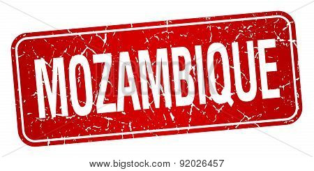 Mozambique Red Stamp Isolated On White Background