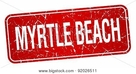 Myrtle Beach Red Stamp Isolated On White Background